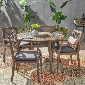 Oakley Outdoor 5 Piece Acacia Wood Round Dining Set with Cushions, Gray, Gray