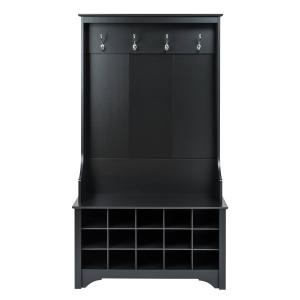 Prepac Wide Hall Tree And Bench With Shoe Storage, Black