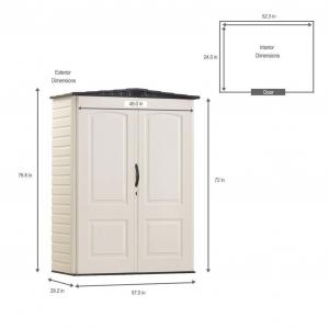 Rubbermaid 5 x 2 ft Small Vertical Storage Shed, Sandstone & Onyx