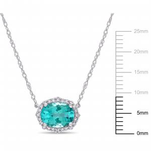 1-1/3 Carat T.G.W. Apatite and 1/10 Carat T.W. Diamond 10kt White Gold Vintage Halo Necklace, 17