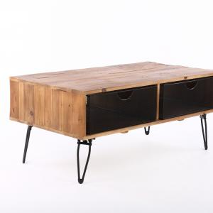 Ophelia Reclaimed Wood 42″ Foldable Coffee Table with Wire Mesh Drawers