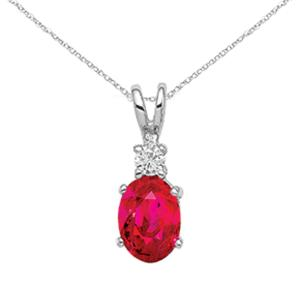 Primal Gold 14 Karat White Gold Ruby Diamond pendant with 18-inch Cable Rope Chain