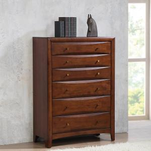 Simple Relax 5-Drawer Chest With Metal Bar Pulls, Dark Cocoa
