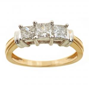 1 Carat T.W. Genuine Princess White Diamond 14kt Yellow Gold Three-Stone Ring, IGL Certified