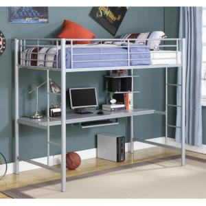 Manor Park Metal Twin Loft Bed with Workstation – Silver