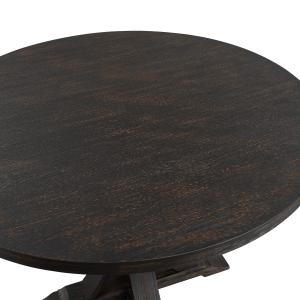 Siena Distressed Black Finish Round Pedestal Counter Height Dining Table