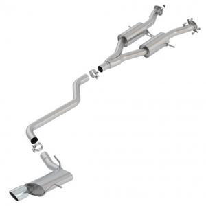 Borla 140748 S-Type Cat-Back Exhaust System; 2.5 in.; Incl. Front Muffler Assemblies/Inter. Pipe/Rear Muffler Assy./Hardware/4 in. Round x 8 in. Tip; Truck Single Right Rear Exit;