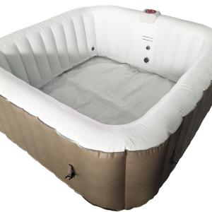 ALEKO HTISQ4BR Square Inflatable Hot Tub Spa With Cover – 4 Person – 160 Gallon – Brown