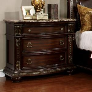 Bolynne Traditional Wooden 3-Drawer Nightstand, Brown Cherry