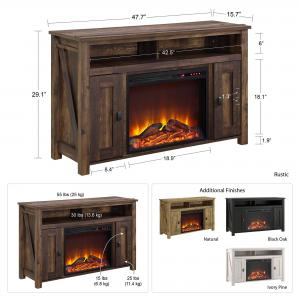 Ameriwood Home Farmington Electric Fireplace TV Console for TVs up to 50″, Multiple Colors