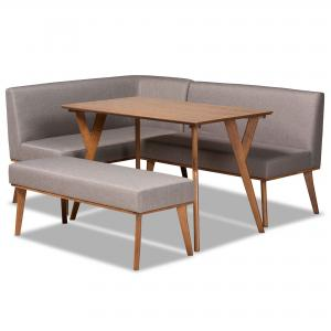 Baxton Studio Odessa Mid-Century Modern Grey Fabric Upholstered and Walnut Brown Finished Wood 4-Piece Dining Nook Set