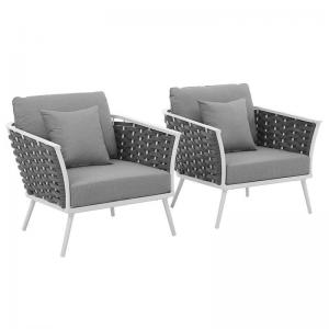 Stance Armchair Outdoor Patio Aluminum Set of 2 in White Gray