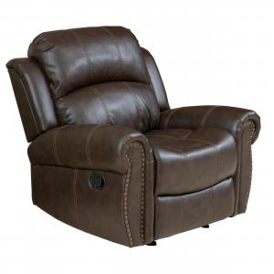 Noble House Charles Standard Bonded Leather Glider Recliner, Brown