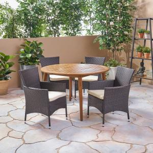 Christina Outdoor 5 Piece Acacia Wood and Wicker Dining Set with Cushions, Teak, Multi Brown, Beige