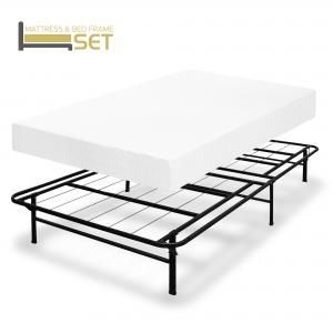 Best Price Mattress 8 Inch Memory Foam Mattress and Dual-Use Steel Bed Frame Set