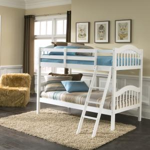 Storkcraft Long Horn Twin Over Twin Solid Hardwood Bunk Bed White