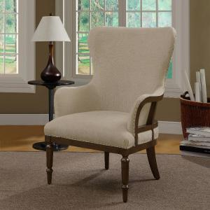 Wood Framed Wingback Arm Chair in Latte Cream