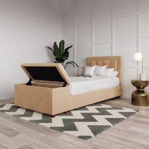 DHP Drew Upholstered Bed with Storage Chest, Twin Size, Ivory Velvet