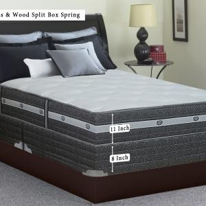WAYTON Medium Plush Pillow Top 12″ Gel Memory Foam and Pocketed Coil Innerspring Mattress and Traditional Split-Wood Box Spring Set