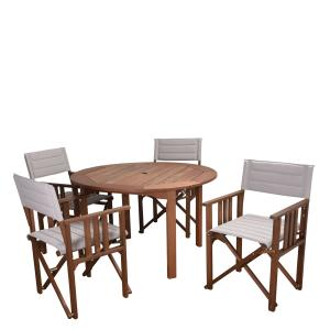 Amazonia Bern 5 Pieces Rectangular Outdoor Dining Set Eucalyptus Wood, Ideal for Patio, Blue Chairs