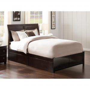 Portland Queen Platform Bed with Flat Panel Foot Board and 2 Urban Bed Drawers in Espresso