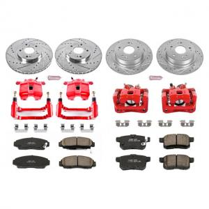 Power Stop Front and Rear Z23 Evolution Brake Pad and Rotor Kit with Red Powder Coated Calipers KC2742