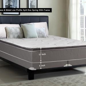 WAYTON, 12-inch Fully Assembled Soft Pillow Top Innerspring Mattress and 4-inch Split Metal Box Spring/foundation set with Frame, |Queen Size| Mink & White Color