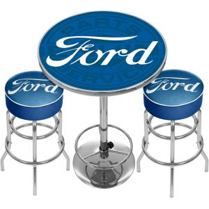 Ford Genuine Parts Game Room Combo, 2 Bar Stools and Table