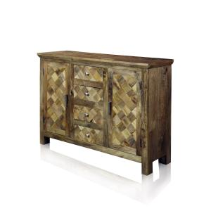 Two-Door Four-Drawer Diagonal Parquets Wood Sideboard – Natural Honey Finish