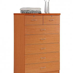 Hodedah 7 Drawer Dresser with Two Locks, Cherry