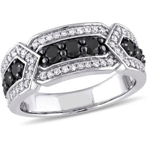 1 Carat T.W. Black and White Diamond 10kt White Gold Multi-Stone Ring