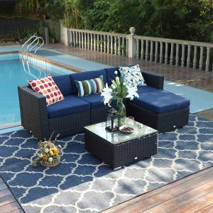 MF Studio 5 Pieces Outdoor Patio Sectional Sofa Sets All-Weather PE Rattan Conversation Sets With Glass Table(Blue)