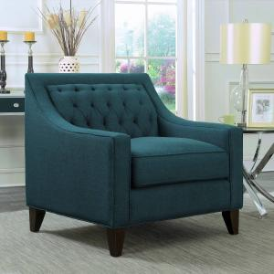 Chic Home Fulla Linen Tufted Back Rest Modern Contemporary Club Chair, Teal