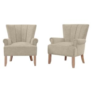 Homesvale Bernsen Chenille Rolled Arm Chair – Set of 2