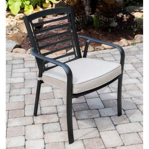 Hanover Pemberton 3-Piece Commercial-Grade Bistro Set with 2 Cushioned Dining Chairs and a 30″ Square Glass-Top Table