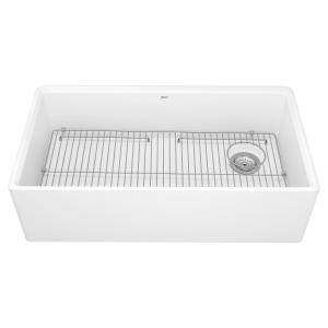 American Standard Avery 36-in x 20-in Single Bowl Apron Kitchen Sink in Alabaster White