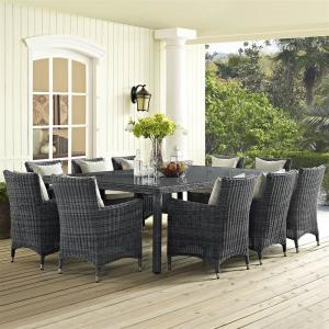 Modway Summon 90″ Outdoor Patio Dining Table in Gray