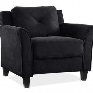 Lifestyle Solutions Taryn Rolled Arm Chair, Black Microfiber