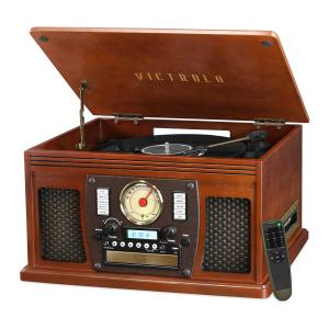 Victrola Wood 8-in-1 Nostalgic Bluetooth Record Player with USB Encoding and 3-speed Turntable – Mahogany Wood