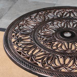 Clayton Outdoor 5 Piece Cast Aluminum Round-Table Dining Set, Shiny Copper