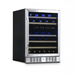 NewAir AWR-460DB 46-Bottle Dual-Zone Built-In Compressor Wine Refrigerator, Stainless Steel and Wood