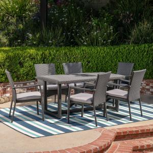 Giovanni Outdoor 7 Piece Wicker Dining Set with Cushions, Grey, Grey