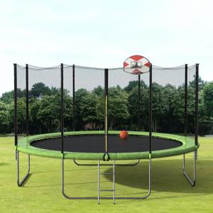 EUROCO 14′ Trampoline with Basketball Hoop and Enclosure, Green