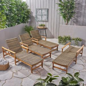 Camdyn Outdoor Rustic Acacia Wood Chaise Lounge with Wicker Seating (Set of 4), Natural and Gray