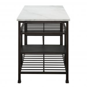 Acme Lanzo Kitchen Island in Marble and Gunmetal, Multiple Color