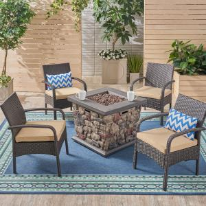 Capitan Outdoor 5 Piece Wicker Chat Set with Stone Finished Fire Pit, Brown, Tan, Stone