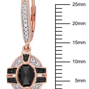 1-1/4 Carat T.W. Black and White Diamond 10kt Rose Gold Drop Earrings