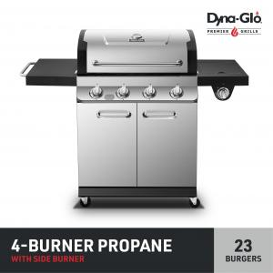 Dyna-Glo Premier 4 Burner Propane Gas Grill w/ Side Burner – Stainless Steel Outdoor Propane BBQ