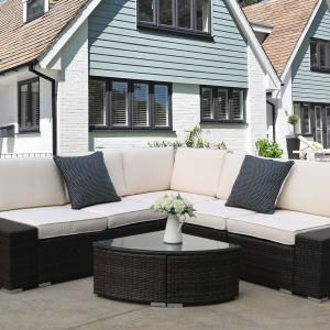 6-Piece Patio Bistro Set, PE Rattan Wicker Patio Furniture Set, Outdoor Conversation Sets with Glass Coffee Table