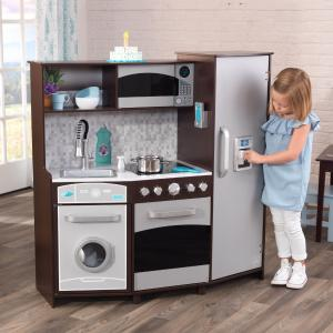 KidKraft Large Play Kitchen with Realistic Lights and Sounds – Espresso/Silver
